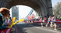 17 APR 2011 - LONDON, GBR - Runners cross Tower Bridge during the London Marathon (PHOTO (C) NIGEL FARROW)