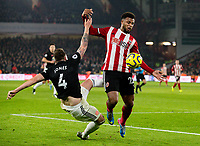 Sheffield United's Lys Mousset battles with Manchester United's Phil Jones <br /> <br /> Photographer Alex Dodd/CameraSport<br /> <br /> The Premier League - Sheffield United v Manchester United - Sunday 24th November 2019 - Bramall Lane - Sheffield<br /> <br /> World Copyright © 2019 CameraSport. All rights reserved. 43 Linden Ave. Countesthorpe. Leicester. England. LE8 5PG - Tel: +44 (0) 116 277 4147 - admin@camerasport.com - www.camerasport.com