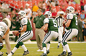 Landover, MD - August 19, 2006 -- New York Jets quarterbacks Patrick Ramsey (11), Brooks Bollinger (5), and Kellen Clemens (6) take practice snaps under the watchful eye of head coach Eric Mangini prior to the pre-season game against the Washington Redskins at FedEx Field in Landover, Maryland, Saturday, August 19, 2006.<br />