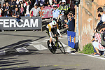 Australian Champion Luke Durbridge (AUS) Mitchelton-Scott rounds the hairpin to commence the San Luca climb during Stage 1 of the 2019 Giro d'Italia, an individual time trial running 8km from Bologna to the Sanctuary of San Luca, Bologna, Italy. 11th May 2019.<br /> Picture: Eoin Clarke | Cyclefile<br /> <br /> All photos usage must carry mandatory copyright credit (© Cyclefile | Eoin Clarke)