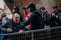 race winner Tiesj Benoot (BEL/Lotto-Soudal) escorted to the podium (via the crowd)<br /> <br /> 12th Strade Bianche 2018<br /> Siena &gt; Siena: 184km (ITALY)