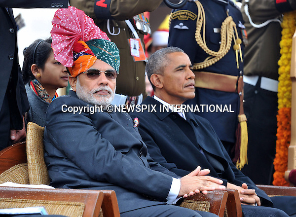 26.01.2015; New Delhi, India: PRESIDENT BARACK OBAMA<br /> was the Chief Guest of the 66th Republic Day celebrations attends the Republic Day Parade on Rajpath with Prime Minster Modi.<br /> The American President is on a three-day visit to India.<br /> Mandatory Credit Photos: NEWSPIX INTERNATIONAL<br /> <br /> **ALL FEES PAYABLE TO: &quot;NEWSPIX INTERNATIONAL&quot;**<br /> <br /> PHOTO CREDIT MANDATORY!!: NEWSPIX INTERNATIONAL(Failure to credit will incur a surcharge of 100% of reproduction fees)<br /> <br /> IMMEDIATE CONFIRMATION OF USAGE REQUIRED:<br /> Newspix International, 31 Chinnery Hill, Bishop's Stortford, ENGLAND CM23 3PS<br /> Tel:+441279 324672  ; Fax: +441279656877<br /> Mobile:  0777568 1153<br /> e-mail: info@newspixinternational.co.uk