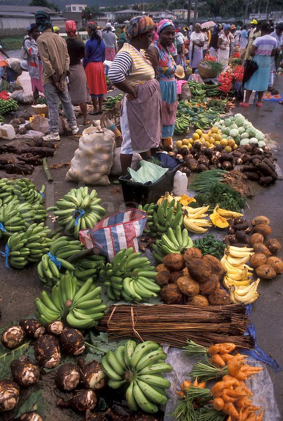 AJ2486, market, Dominica, Caribbean, Roseau, Caribbean Islands, Local black women selling fresh produce at a street market in downtown Roseau the capital of the island of Dominica.