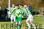 John McDonough Killlarney Celtic holds off the challenge of Kevin McCarthy Listowel Celtic during the Munster Junior clash in Celtic Park on Sunday