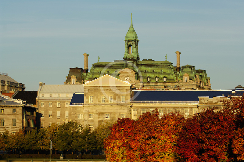 Canada, Montreal, Hotel de Ville with fall foliage