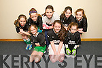 Listowel Team Front l-rNadine Moloney, Niamh Canty, Labhaoise OSM,Back l-r  Aoife Horgan, Ava Grimes, Ciara Sweeney, Hannah Healy and Valerie Guineyat the U13 Boys and Girls Kerry Community Indoor Soccer finals at Mountcoal sports Centre on Sunday