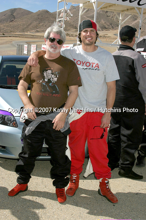 George Lucas & Joshua Morrow.2007 Toyota Pro/Celebrity Race Training.Danny McKeever's Fast Lane Racing School.Willow Springs Race Track.Willow Springs, CA  .March 17, 2007.©2007 Kathy Hutchins / Hutchins Photo....