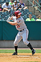 Jarek Cunningham (25) of the Altoona Curve bats during a game against the New Britain Rocks Cats at New Britain Stadium on July 23, 2014 in New Britain, Connecticut.  Altoona defeated New Britain 8-5. (Gregory Vasil/Four Seam Images)