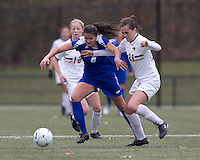 Hofstra University forward Salma Tarik (8) and Boston College midfielder Zoe Lombard (20) battle for the ball. Boston College defeated Hofstra University, 3-1, in second round NCAA tournament match at Newton Soccer Field, Newton, MA.