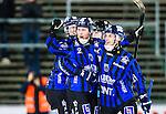 Uppsala 2015-03-10 Bandy Elitseriekval IK Sirius - Falu BS :  <br /> Sirius Patrik Eidenert jublar med Adam Rudell och Victor Lundberg efter sitt 12-2 m&aring;l under matchen mellan IK Sirius och Falu BS <br /> (Foto: Kenta J&ouml;nsson) Nyckelord:  Bandy Elitserien Elitseriekval Kval Kvalserien Uppsala Studenternas IP IK Sirius IKS Falun Falu BS jubel gl&auml;dje lycka glad happy