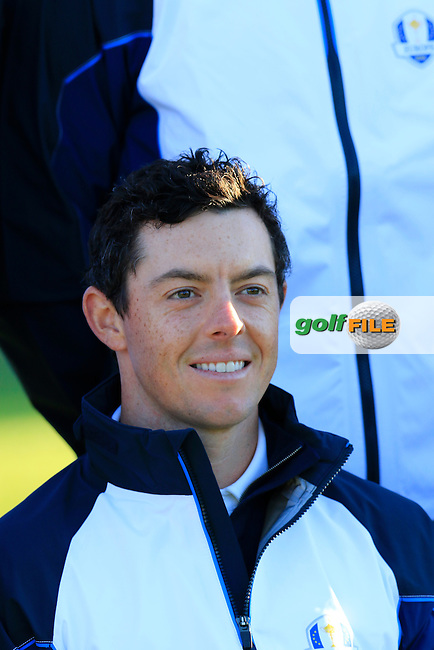Rory McIlroy (NIR) European Team photo shoot during Tuesday's Practice Day of the 41st Ryder Cup held at Hazeltine National Golf Club, Chaska, Minnesota, USA. 27th September 2016.<br /> Picture: Eoin Clarke | Golffile<br /> <br /> <br /> All photos usage must carry mandatory copyright credit (&copy; Golffile | Eoin Clarke)