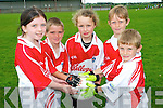 GAA fun at the Causeway Cúl Camp last week. .L-R Amy Guiney, Muiris Harty, Katie Hussey, Robert Monahan and Dylan Godley.