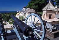 cannon, Fort Mackinac, Mackinac Island, MI, Lake Huron, Michigan, Mackinac Island State Park, Cannon displayed at scenic overlook of Mackinac Island from Fort Mackinac on Lake Huron.