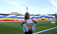 BOGOTA -COLOMBIA. 03-05-2014.  Porrista  de Millonarios antes del encuentro  contra La Equidad   partido de vuelta por los Cuartos de Final  de La liga Postobon  disputado en el estadio Nemesio Camacho El Campin. / Cheerleader of Millonarios  before match  against La Equidad    game around the Quarter Finals of the Postobon league match at the Estadio Nemesio Camacho El Campin. Photo: VizzorImage/ Felipe Caicedo / Staff
