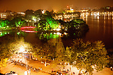 VIETNAM, Hanoi, an elevated view of Hoan Kiem Lake at night