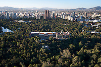 Castillo de Chapultepec,  Chapultepec Castle. Aerial photos of Mexico City, Mexico