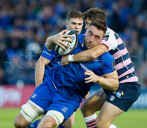 8th September 2017, RDS Arena, Dublin, Ireland; Guinness Pro14 Rugby, Leinster versus Cardiff Blues; Jack Conan of Leinster takes the ball into contact
