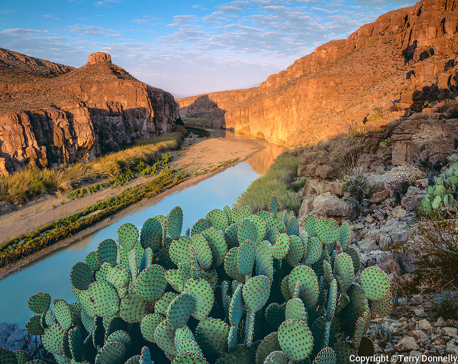 Big Bend National Park, TX <br /> Morning sun reaches into Hot Springs canyon and along the limetone cliffs above the Rio Grande