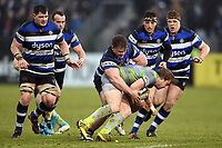 Nick Auterac of Bath Rugby puts in a tackle. Anglo-Welsh Cup match, between Bath Rugby and Newcastle Falcons on January 27, 2018 at the Recreation Ground in Bath, England. Photo by: Patrick Khachfe / Onside Images