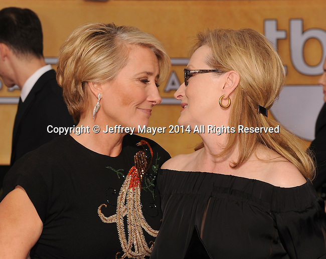 LOS ANGELES, CA- JANUARY 18: Actresses Emma Thompson (L) and Meryl Streep arrive at the 20th Annual Screen Actors Guild Awards at The Shrine Auditorium on January 18, 2014 in Los Angeles, California.