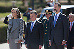 King Felipe VI of Spain during the Colombia´s President Juan Manuel Santos and his wife Maria Clemencia Rodriguez welcome ceremony at the Pardo Palace in Madrid, Spain. March 01, 2015. (ALTERPHOTOS/Victor Blanco)