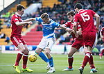 St Johnstone v Aberdeen&hellip;15.04.17     SPFL    McDiarmid Park<br />Steven MacLean battles with Ryan Jack and Ash Taylor<br />Picture by Graeme Hart.<br />Copyright Perthshire Picture Agency<br />Tel: 01738 623350  Mobile: 07990 594431