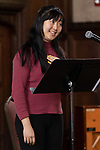 """Harmony Zhang, a student in The Theatre School, performs """"Asian Voices"""" during the second annual Grace Lee Boggs Heritage Breakfast hosted by the Office of Institutional Diversity and Equity, Thursday, May 9, 2019, in Cortelyou Commons. (DePaul University/Jeff Carrion)"""
