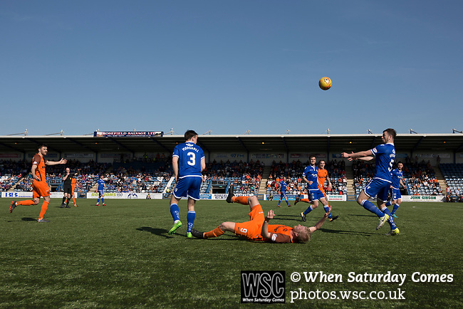 Second-half action at Palmerston Park, Dumfries as Queen of the South (in blue) hosted Dundee United in a Scottish Championship fixture. The home has played at the same ground since its formation in 1919. Queens won the match 3-0 watched by a crowd of 1,531 spectators.