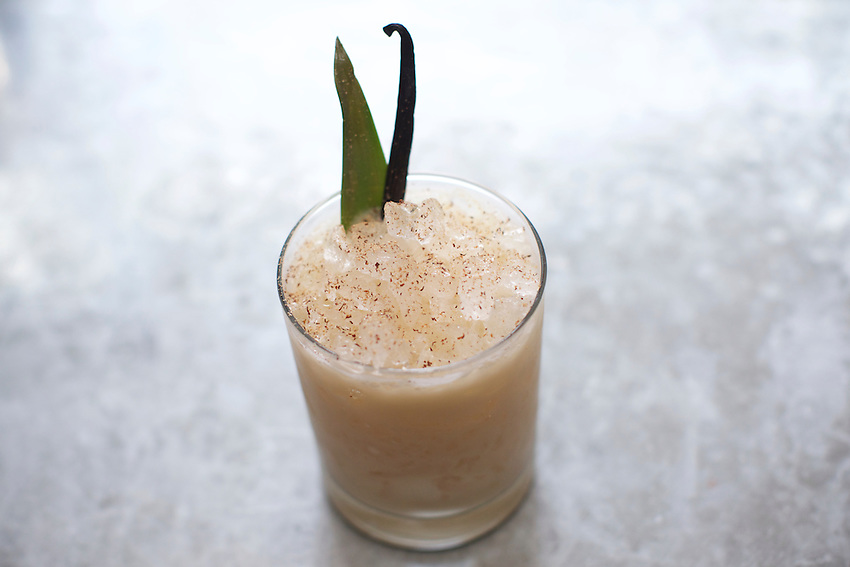 New York, NY - May 17, 2016: A Pi&ntilde;a Colada cocktail at L'Amico by chef Laurent Tourondel in the Eventi Hotel in Midtown South.<br /> <br /> CREDIT: Clay Williams for Haute Life.<br /> <br /> &copy; Clay Williams / claywilliamsphoto.com