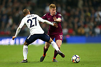 Kevin De Bruyne of Manchester City and Lucas of Tottenham Hotspur during Tottenham Hotspur vs Manchester City, Premier League Football at Wembley Stadium on 14th April 2018