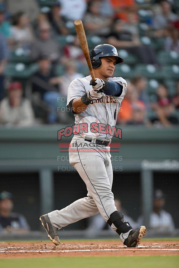 Catcher Eduardo Navas (11) of the Charleston RiverDogs bats in Game 2 of the South Atlantic League Southern Division Playoff against the Greenville Drive on Friday, September 8, 2017, at Fluor Field at the West End in Greenville, South Carolina. Charleston won, 2-1, and the series is tied at one game each. (Tom Priddy/Four Seam Images)