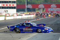 Aug. 31, 2012; Claremont, IN, USA: NHRA pro stock driver Steve Spiess during qualifying for the US Nationals at Lucas Oil Raceway. Mandatory Credit: Mark J. Rebilas-