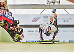 9 January 2016: Kyle Brown, competing for the United States of America, pushes off for his first run start of the BMW IBSF World Cup Skeleton race at the Olympic Sports Track in Lake Placid, New York, USA. Brown ended the day with a combined 2-run time of 1:50.20 and a 6th place overall finish. Mandatory Credit: Ed Wolfstein Photo *** RAW (NEF) Image File Available ***