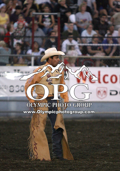 25 Aug 2010:  Chad Ferley looks up at the score board after scoring a 75 in the Saddle Bronc Riding competition at the Kitsap County Stampede Wrangle Million Dollar PRCA Silver Rodeo Tour Bremerton, Washington.