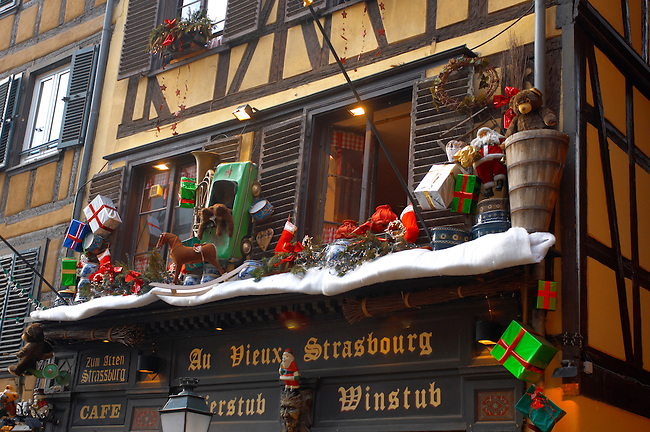 Strasburg - France -  Christam decorations on buildingd