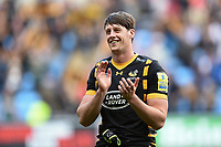 James Gaskell of Wasps is all smiles after the match. Aviva Premiership semi final, between Wasps and Leicester Tigers on May 20, 2017 at the Ricoh Arena in Coventry, England. Photo by: Patrick Khachfe / JMP