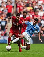 Roberto Firmino of Liverpool and Rodrigo of Manchester City battle for the ball during the FA Community Shield match between Liverpool and Manchester City at Wembley Stadium on August 4th 2019 in London, England. (Photo by John Rainford/phcimages.com)<br /> Foto PHC/Insidefoto <br /> ITALY ONLY