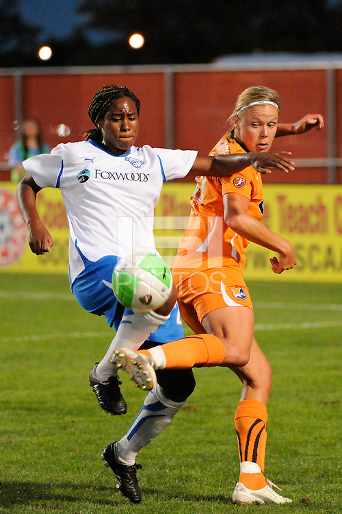 Ifeoma Dieke (20) of the Boston Breakers and Laura Kalmari (21) of Sky Blue FC. Sky Blue FC and the Boston Breakers played to a 0-0 tie during a Women's Professional Soccer (WPS) match at Yurcak Field in Piscataway, NJ, on September 11, 2010.