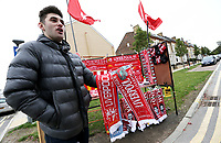 A vendor sells Liverpool scarves and memorabilia ahead of kick-off<br /> <br /> Photographer Rich Linley/CameraSport<br /> <br /> The Premier League - Liverpool v Manchester City - Sunday 7th October 2018 - Anfield - Liverpool<br /> <br /> World Copyright &copy; 2018 CameraSport. All rights reserved. 43 Linden Ave. Countesthorpe. Leicester. England. LE8 5PG - Tel: +44 (0) 116 277 4147 - admin@camerasport.com - www.camerasport.com