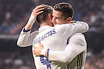 Real Madrid's Cristiano Ronaldo and Sergio Ramos celebrating a goal during La Liga match between Real Madrid and Real Sociedad at Santiago Bernabeu Stadium in Madrid, Spain. January 29, 2017. (ALTERPHOTOS/BorjaB.Hojas)