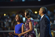 September 6, 2012  (Charlotte, North Carolina) President Barack Obama on stage with first lady and daughter Sasha during the last night of the 2012 Democratic National Convention In Charlotte.   (Photo by Don Baxter/Media Images International)