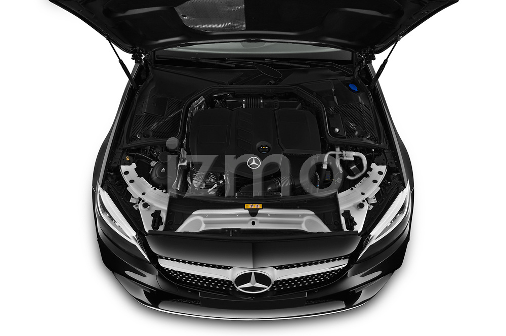 Car Stock 2019 Mercedes Benz C-Class C300- 2 Door Convertible Engine  high angle detail view
