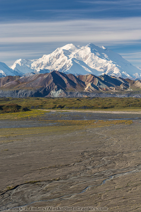 Summit of Denali and the McKinley river bar, Denali National Park, Alaska.