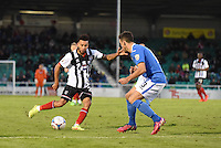 Nathan Arnold of Grimsby Town takes on Michael Green of Eastleigh during the Vanarama National League match between Eastleigh and Grimsby Town at The Silverlake Stadium, Eastleigh, Hampshire on Nov 21, 2015. (Photo: Paul Paxford/PRiME)