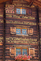 Traditional inscription on 18th Century Swiss house built 1741 in Serneus near Klosters, Graubunden region, Switzerland