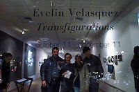 "Stamford, CT. 11 October 2014. Colombian Artist Evelin Velasquez (2 R) attends the Opening of her solo Exhibit ""Transfigurations"" at the Fernando Luis Alvarez Gallery in Stamford . Photo by Eduardo Munoz/VIEWpress"