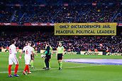 30th January 2019, Camp Nou, Barcelona, Spain; Copa del Rey football, quarter final, second leg, Barcelona versus Sevilla; A Banner about the political leaders of Catalonia