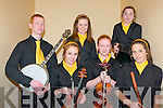 Scor Na nOg Ghairrai Thuaidh : Pictured at the Scor Na nOg Ghairrai Thuaidh held in Marian Hall, Moyvane on Sunday evenin last were the Listowel Emmets Ceol Uirlise group. Front : Bobin Dolle, Fionnula Trench & Rebekah Garvey. Back : Tom Trench, Saoirse Kennedy & Srah Moriarity.