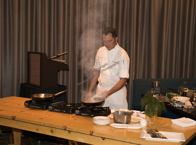 Chef Michael Mahoney during a cooking demonstration inside Charlie Palmer Lounge in the Grand Sierra Resort on Thursday night, October 12, 2017.