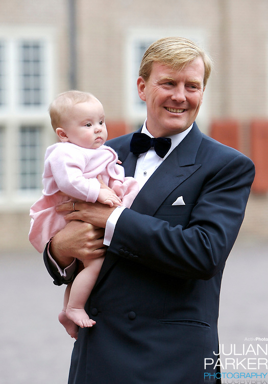 Crown Prince Willem Alexander of Holland arrives with his Daughter,  Princess Ariane, for a Reception at Het Loo Palace in Apeldoorn, to celebrate the 40th Birthday of Crown Prince Willem Alexander, The Prince turned forty in April earlier this year.
